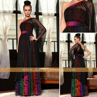 DORISQUEENFactory Supply new arrival dubai Grace black tulle printed western one strap quinceanera dress