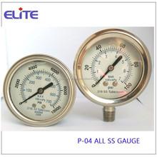 P-04 ALL SS GAUGE silicon filled or glycerine filled pressure gauge