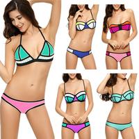 Wholesale Sexy Fashion Women Push up Neoprene Bright Bikini Set Swimsuit Swimwear