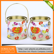Wholesale factory made clear plastic candy box with tin plate lid