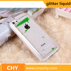 mobile phone accessories drop glitter liquid plastic clear case cover for iphone 5c