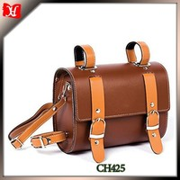 high quality durable brown leather saddle bags