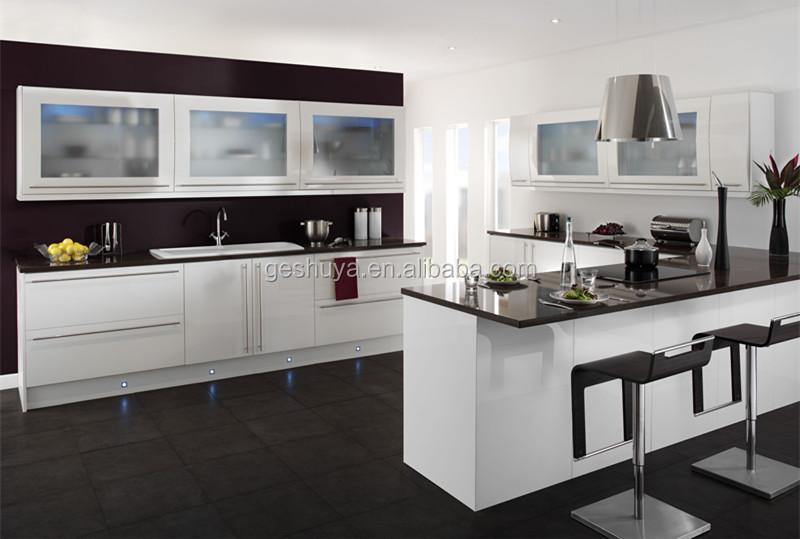 Lb dd1002 estilo moderno blanco pvc gabinetes de cocina for Gabinetes de cocina modernos