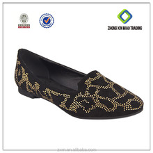 4157-D05-1 Black With Gold Diamond Ladies Funky Flat Shoes
