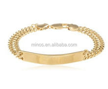 18k Gold Filled Tag with Double Cuban Link 8 Inch Chain Bracelet Lobster Clasp
