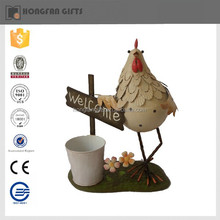 funny hot sell fashion metal garden rooster decor
