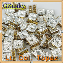 Color Lt. Col. Topaz 10x10mm Square strass rondelles for bracelets jewelry