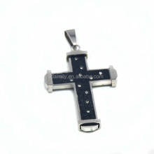 Guangzhou Daimily Wholesale Black and Steel Stainless Steel Laser Stars Cross Pendant