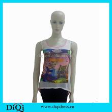 2014 Fashion front short and long back chiffon sexy women blouse/women clothing/women top