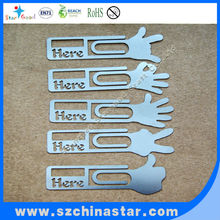 Company souvenir hand shape stainless steel metal bookmark