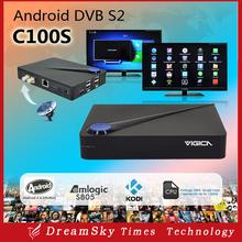 Genuine VIGICA C100S DVB-S2 Digital Satellite Receiver Amlogic S805 Quad Core 1GB/8GB DVB-S2+ Android 4.4 tv box