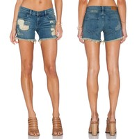 2015 Summer Women Broken Washed Denim Short Jeans Hot Shorts with Hollows and Pockets for Wholesale Haoduoyi