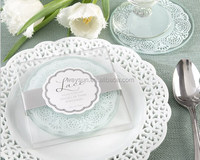 50pcs Lace Exquisite Frosted Glass Coasters wedding favors and gifts 1box=2pcs DHL Freeshipping