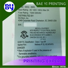 UL certified 3M White Polycarbonate Panel permanet Adhesive Label