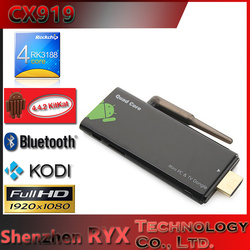 Android 4.4.2 CX919 With BT Mini PC TV Dongle RK3188 Quad Core tv dongle best price