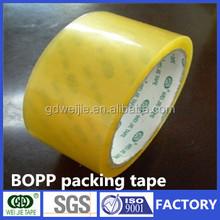 factory supply yellowish box package good tensile self adhesive bopp packing tape