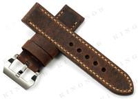 темно коричневый подлинным корова кожаный ремешок для часов 24 мм часы группа ремешок для panerai luminor / luminox военных армии час Винтаж браслет