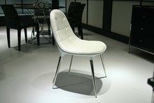 Modern Fashion Shape No Armrest Genuine White Leather Dining Chair