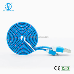 2016 High Quality Braided USB Cable Charger Colorful Flat Sync Data Charging Cable Line