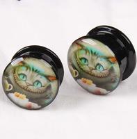 Acrylic Cat Explosion Screw Ear Plug Tunnel Jewelry Body Piercing
