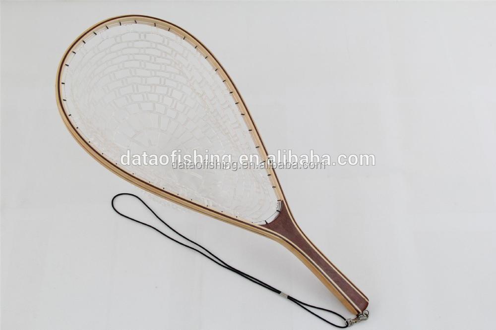 Rubber net long handle wooden fishing landing net buy for Long handle fishing net