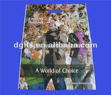 plastic die cut handle bags / punch die cut plastic logo printed die cut bag with punched handles and custom printing