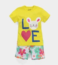2015 summer girl cotton vest with shorts sets with rabbit style