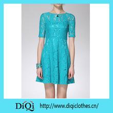 2014 proveedor de china de las mujeres de moda de color sólido vestido de encaje de algodón desgaste de las mujeres