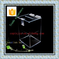 Crystal clear acrylic donation box ,for wholesale, Trade assurance supplier! Manufacturers custom-made Storage and display box