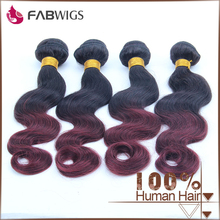 wholesale price 1B-99J color body wave 100% human hair two tone Brazilian ombre hair weft