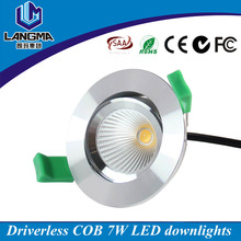 Customized label dimmable 220V cob 7w led recessed ceiling lights