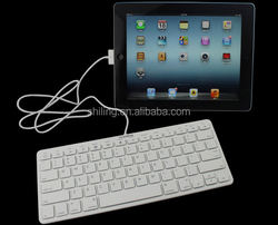 Portable Slim for iPad Wired Keyboard with 30-pin Connect Plug And Play