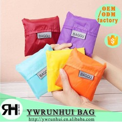 OEM 210D reusable nylon foldable shopping bag