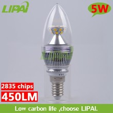 Hot sale latest led candle light 4W 5W dimmable 180V-240V silver candle light