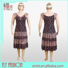 L1518# High quality casual middle aged women fashion dress,dress for fat female,casual summer big size fat women dress