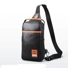 Feger Black Single Backpack PU Leather Men's Single Shoulder Bag