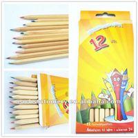 12pcs/color pencil box, triangle natural wood color pencil set packaging wholesale
