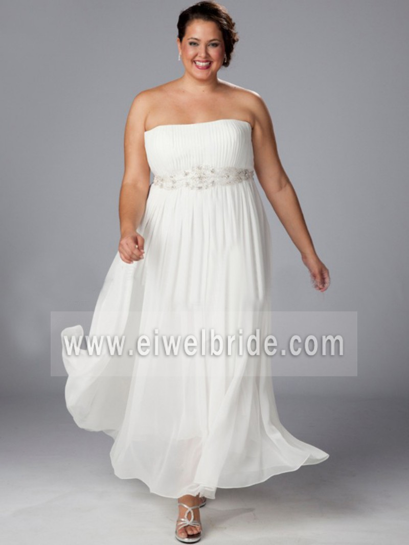Wedding Dress Patterns Empire Line : Sexy strapless empire waist a line chiffon tea length wedding dress