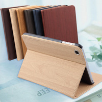 The Newest Design Wood Grain Flip Stand PU Leather Tablet Case For ipad air/air 2