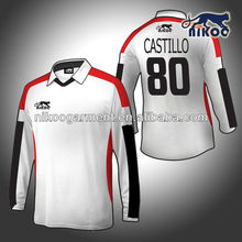sublimated cool-dry white/black/red long sleeve soccer jersey for goalkeeper