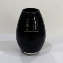 Cheap Black Glass Vase, Oval Shape Glass Vase, Black Glass Perfume Diffuser Bottle For Home Decoration