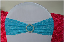 Fashion lace chair sash with round buckle for wedding