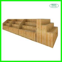 Retail store & supermarket wooden display shelf