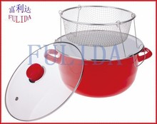 812EDG 26CM Belly Enamel Casserole With Frying Basket Chinese Red Color European Style