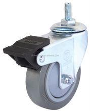 """25mm small caster wheel, 75mm medium duty caster wheel , 3"""" Threaded stem PU gray swivel locking truck caster wheel"""