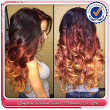 hot sell top fashion nice wavy indian remy human hair ombre wig