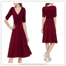 3/4 Sleeve Ruched Waist Classy V-Neck Casual Cocktail Dress NT10