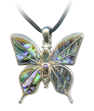 Natural Sea Shell Silver Tone Butterfly Necklace Shell Butterfly Pendant Bead Gemstone Abalone Shell Filigree Butterfly