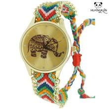 Popular elephant dial design woven bracelet wrist women watches
