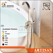 02014 cUPC contemporary Freestanding tub with faucet and shower brush nickel